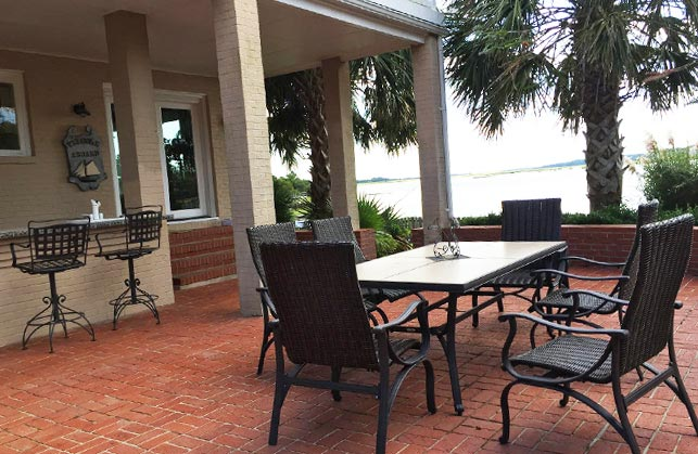 Brick Patio with Waterfront View